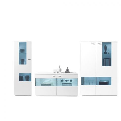 Set Living Commo 04, Alb Mat, 2170 x 400 x 1970 mm.