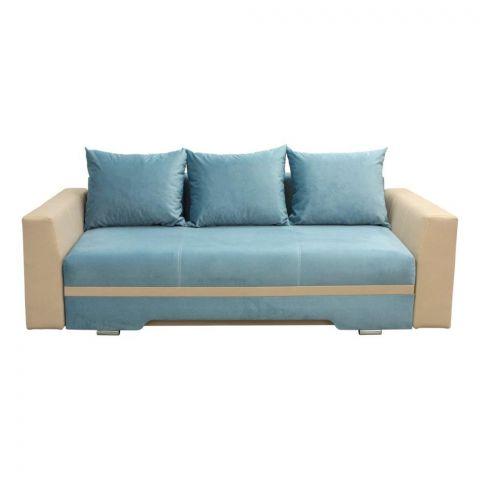 Canapea extensibila Alessia, bej cu albastru, 2300 x 1000 x 770 mm.
