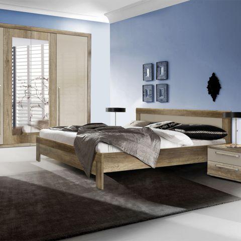 Dormitor Malvagio, Stejar antic & Bej lucios, Pat 1600 mm.