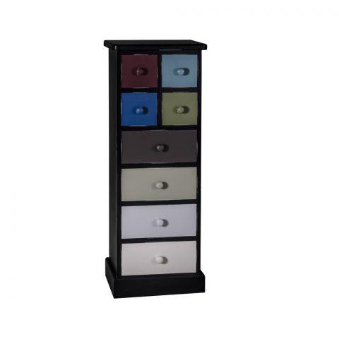 Comoda Ingusta 8 Sertare Odette, Multicolor cu negru, 460 x 360 x 1220 mm.
