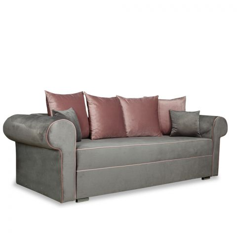 Canapea extensibila Sofia, Gri si roz, 2510 x 1050 x 750 mm.