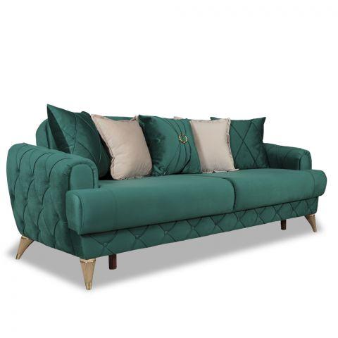 Canapea extensibila 3L Glamour Verde, 2340 x 940 x 860 / 1250 x 1830 mm.